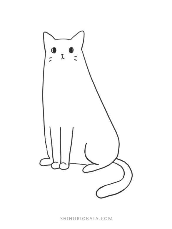 easy cat drawing step by step