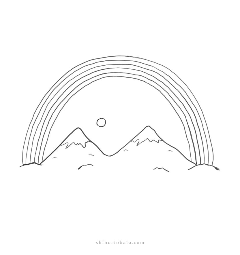 easy mountain drawing idea