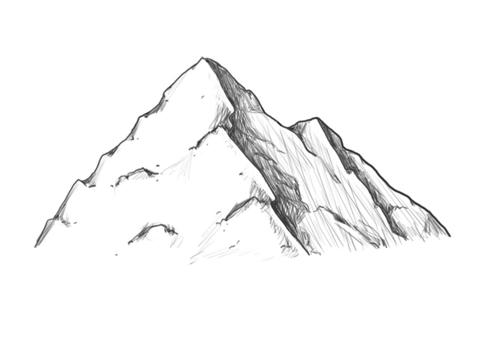how to draw mountains easy