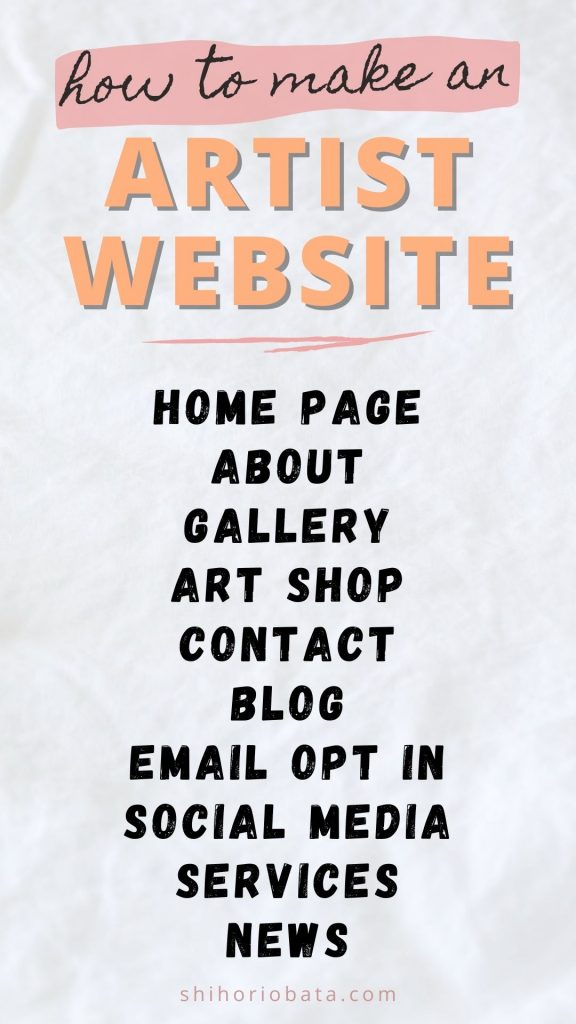 artist website pages to include