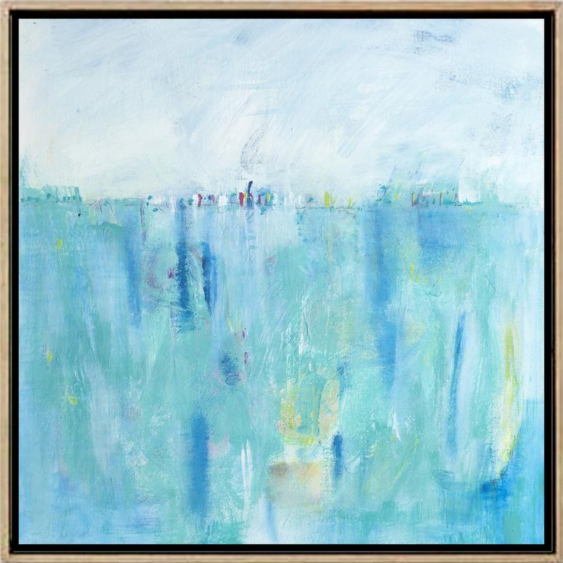 blue abstract art print etsy