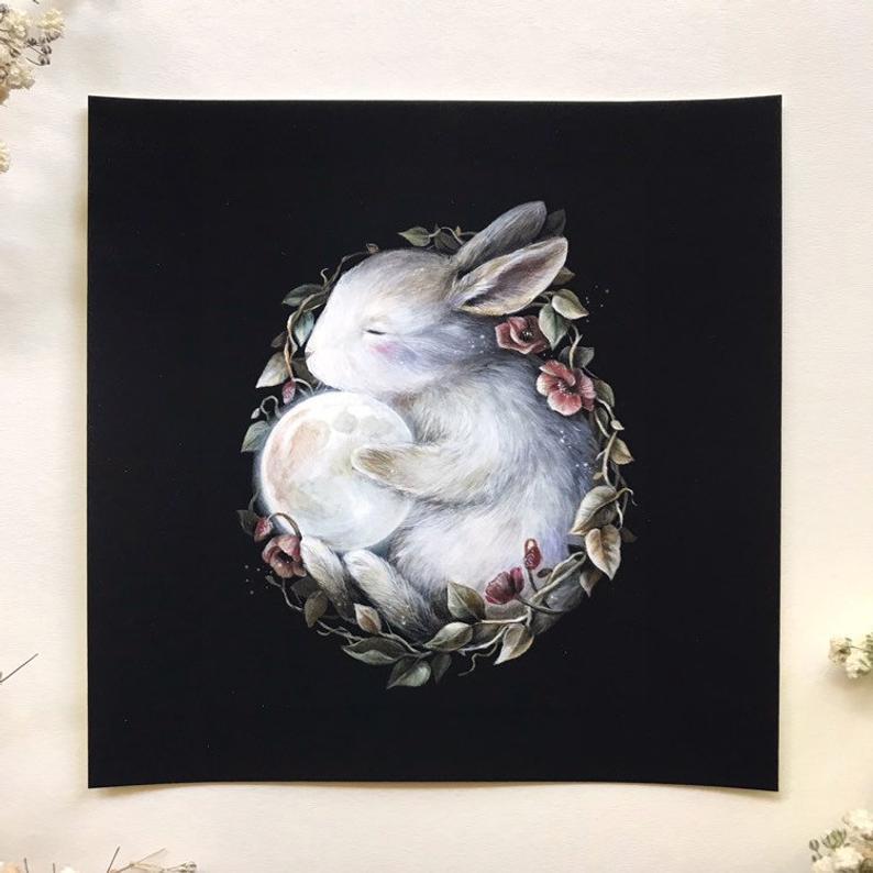 rabbite art print moon etsy