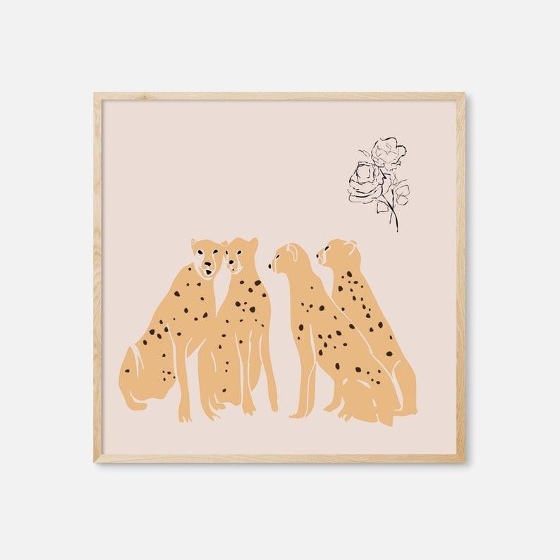 cheetah art print etsy