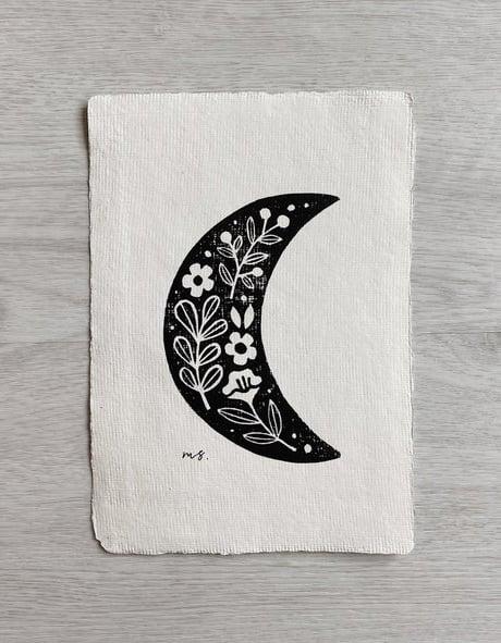 moon linocut art print