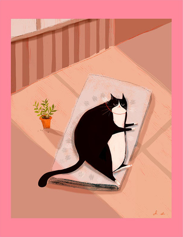 sleeping cat art print etsy
