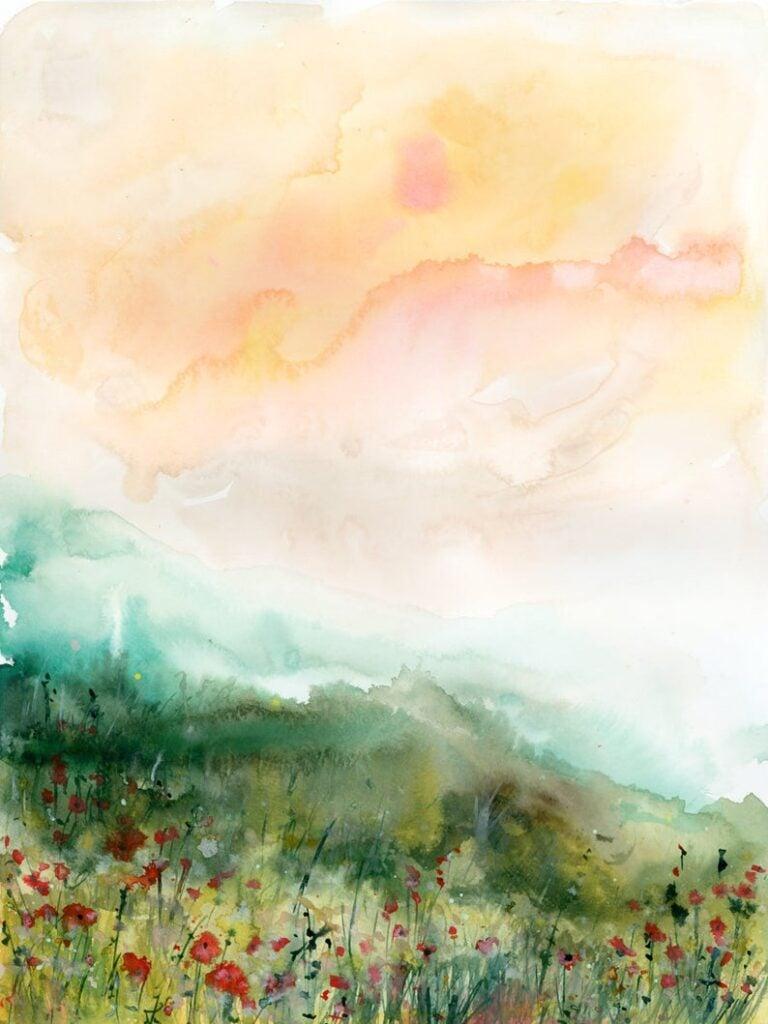 watercolor mountain art print etsy