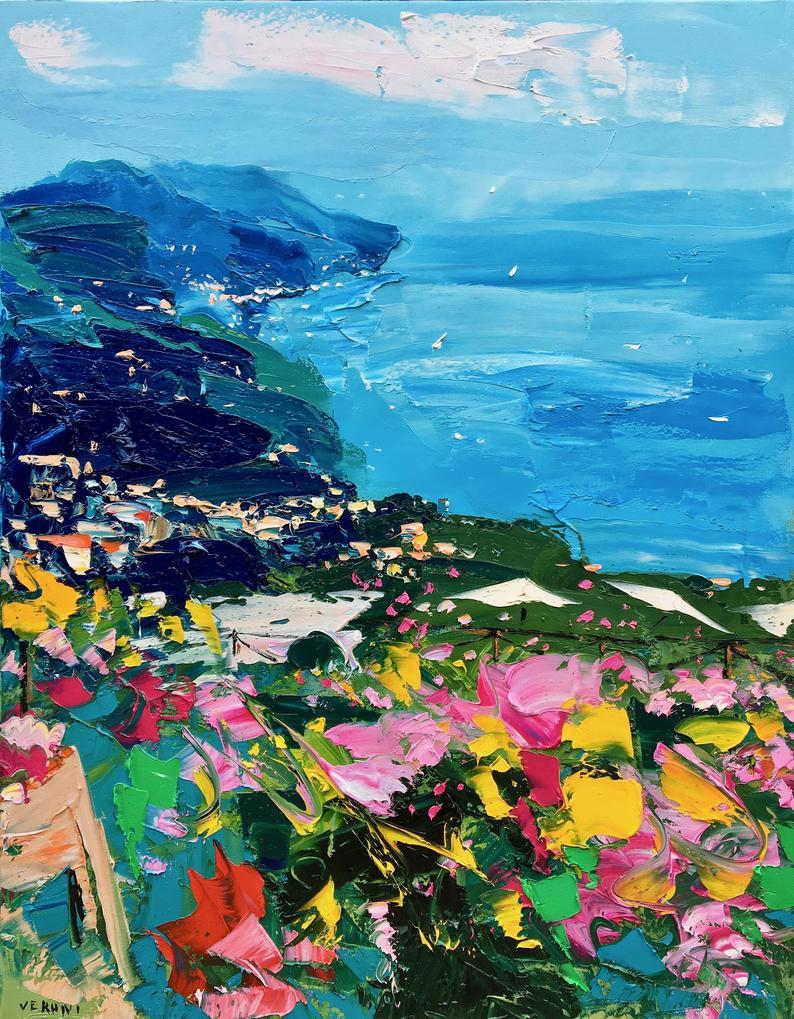 blue landscape ocean art print etsy
