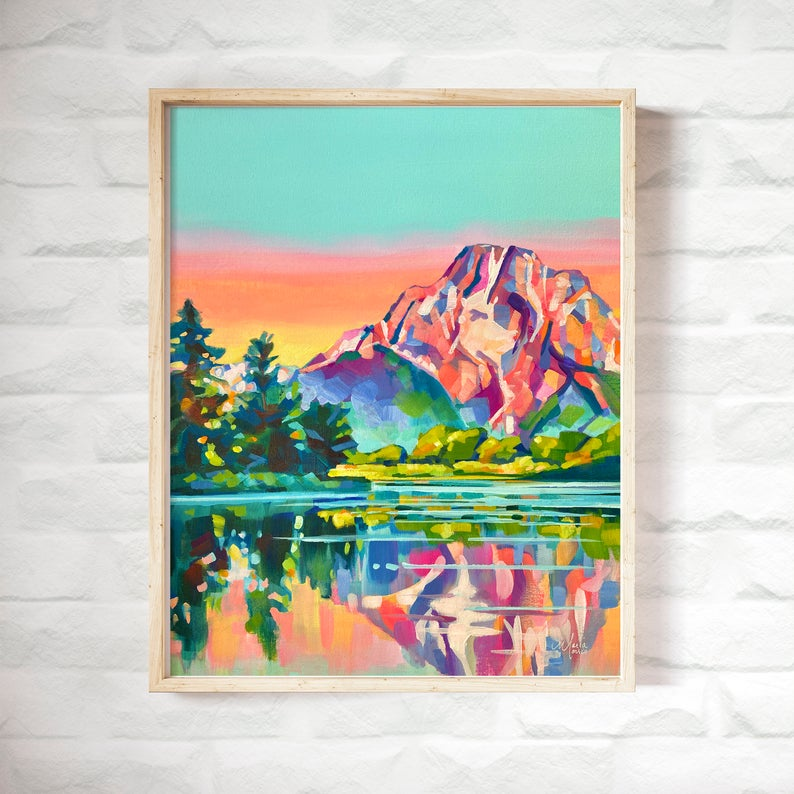mountain landscape art print etsy