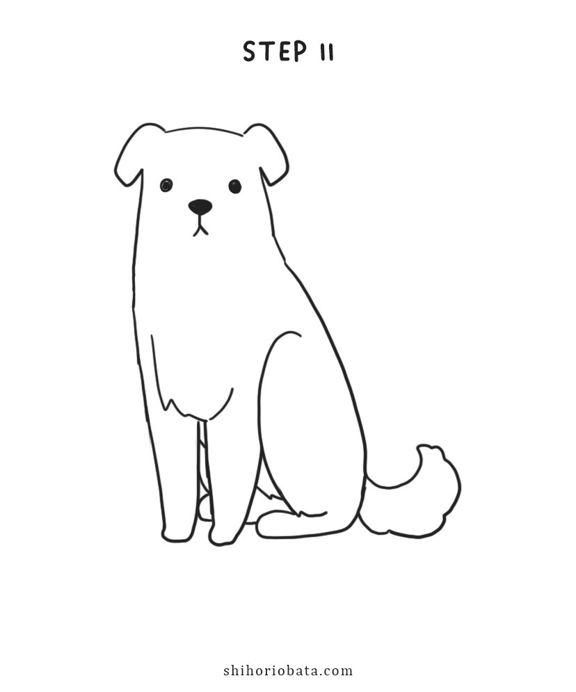 step by step easy dog drawing