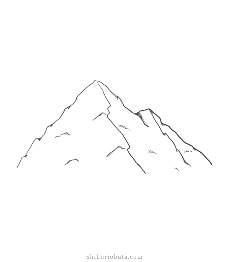 easy step by step mountain drawing