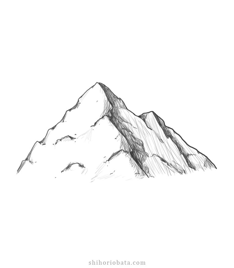 how to draw mountains step by step