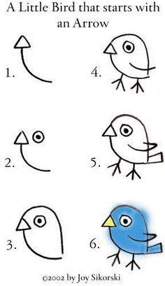 easy bird drawing arrow