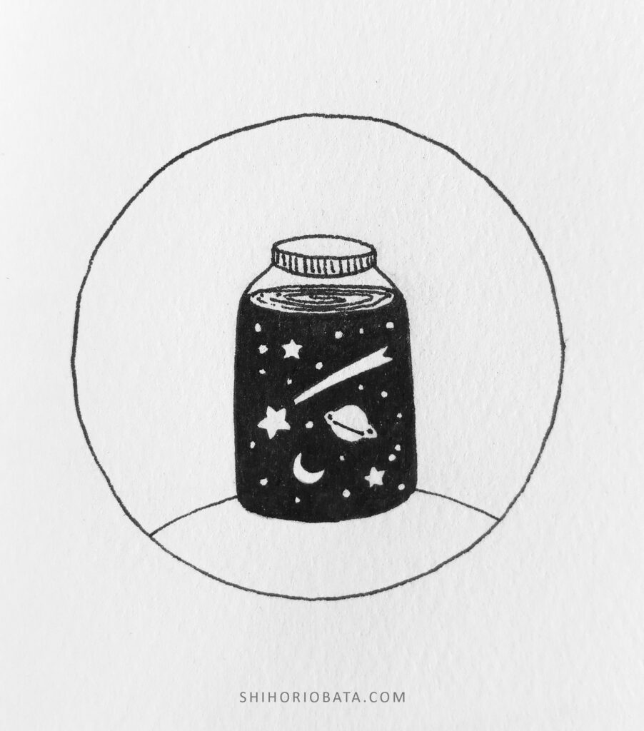space in a jar drawing