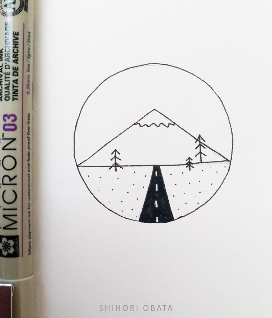 easy circle drawing mountain