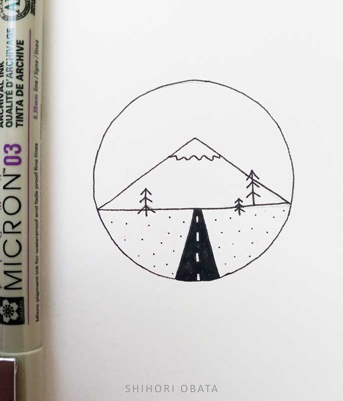 easy circle drawing idea mountain