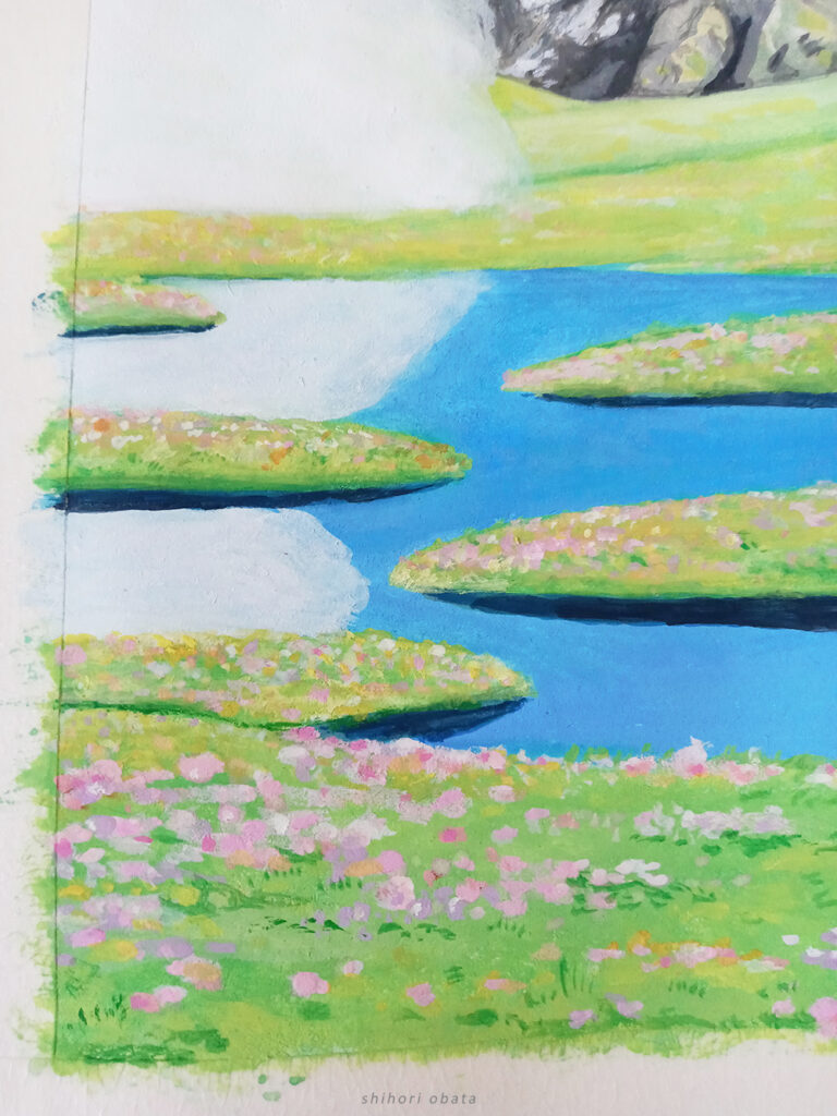 gouache painting closeup