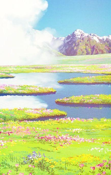 studio ghibli landscape scene to paint