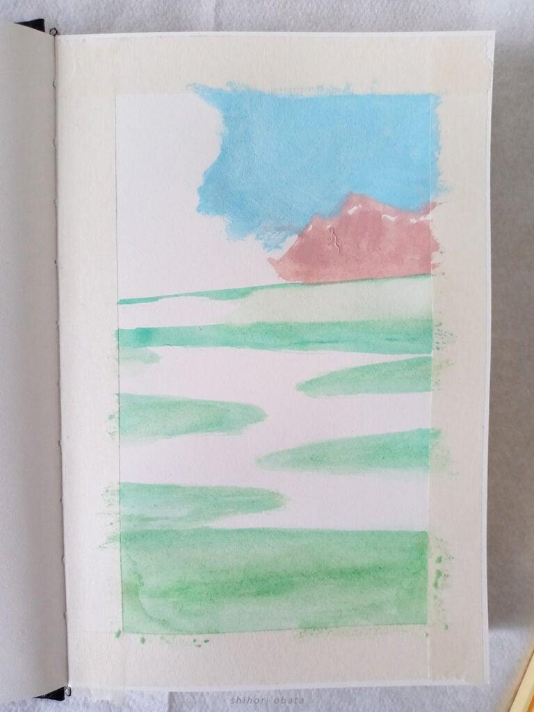 gouache painting landscape studio ghibli