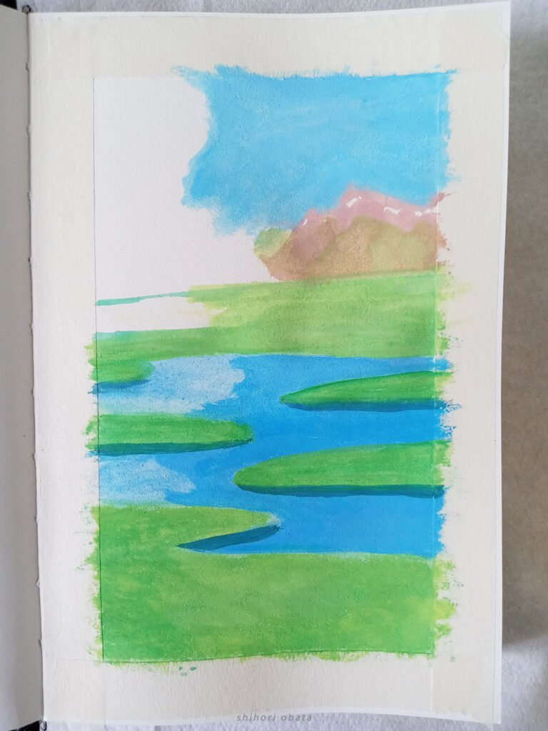 gouache landscape painting step by step