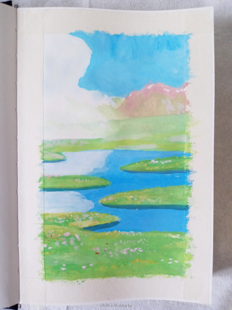 gouache studio ghibli painting