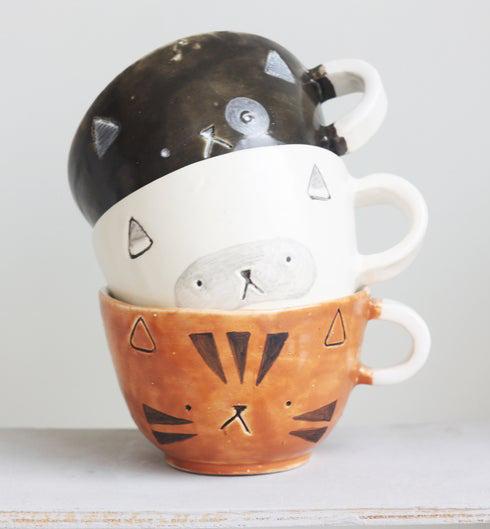 ceramic cat cup handmade