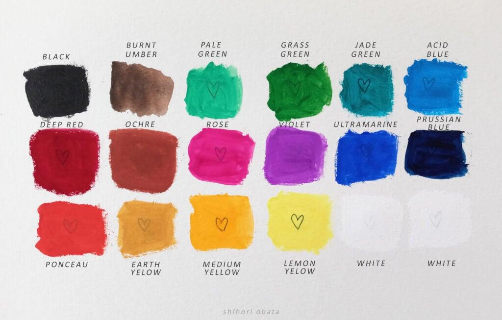himi gouache paint swatches