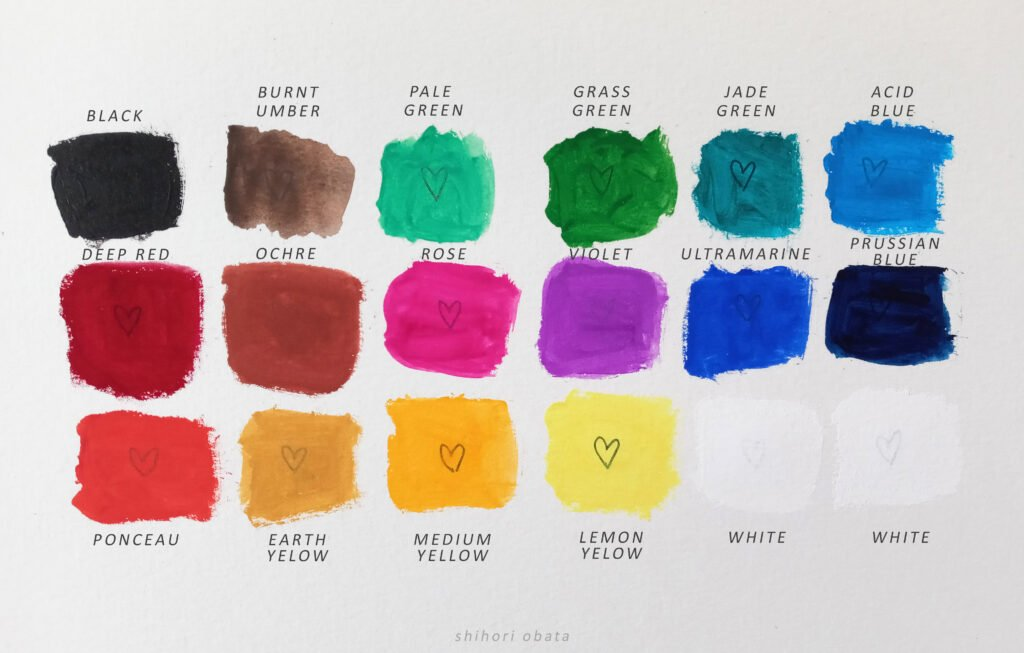 himi gouache paint swatches