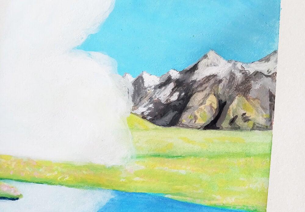how to paint landscape using gouache