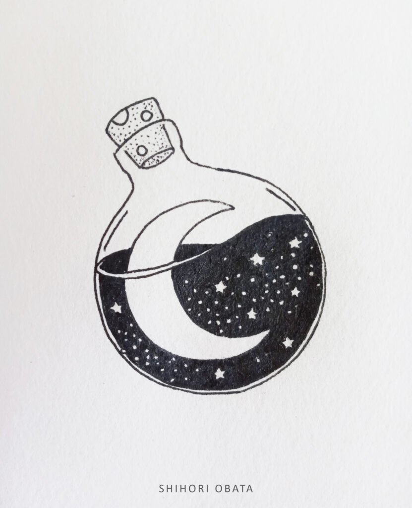 moon in a bottle circle drawing idea
