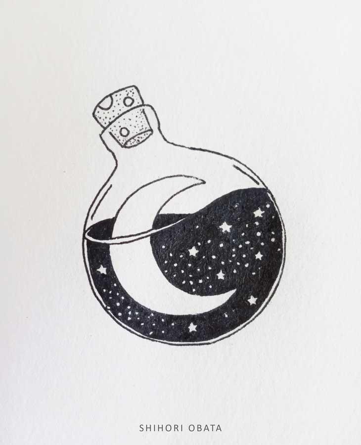 moon in bottle circle drawing idea