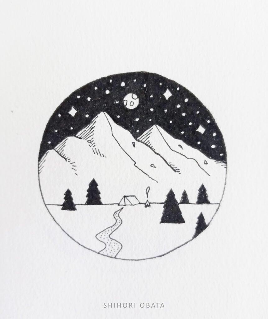easy camping drawing outdoors circle