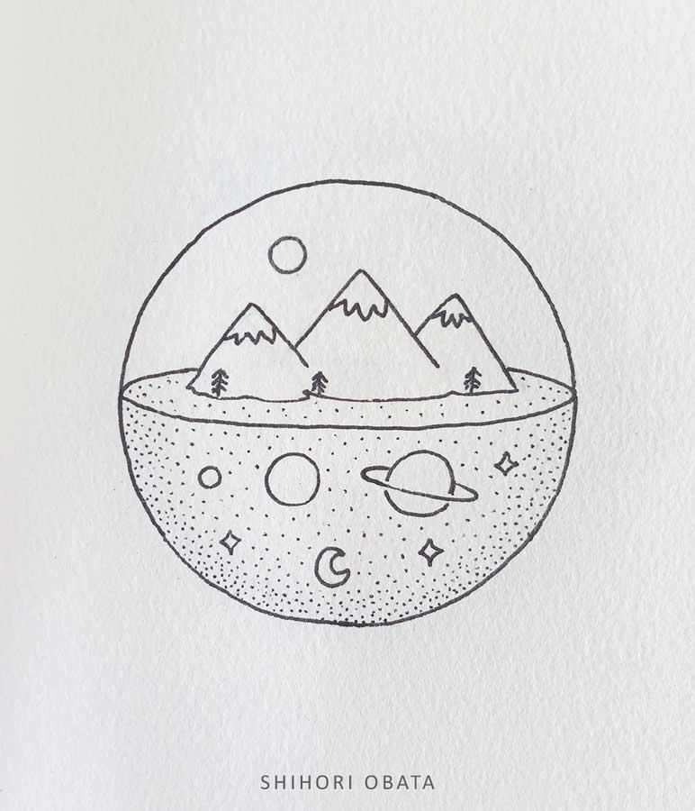 easy mountain circle drawing