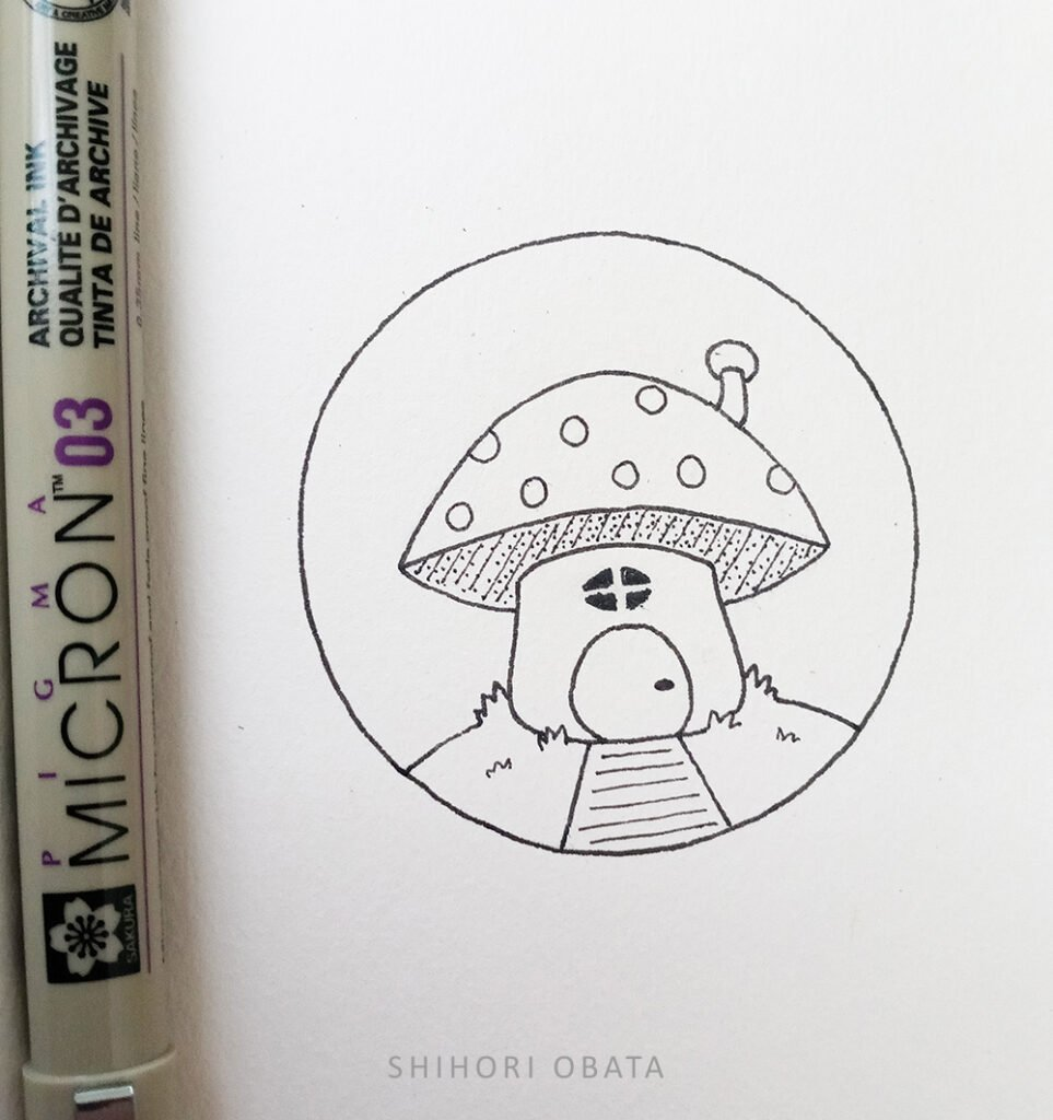 circle drawing mushroom house