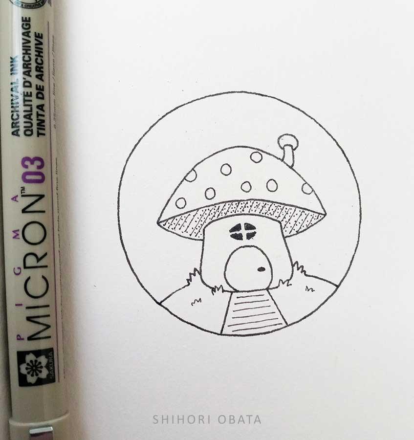 circle drawing mushroom house