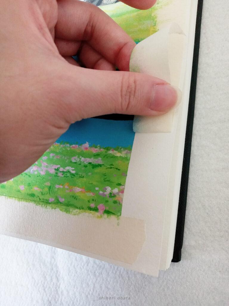 peel of tape gouache painting