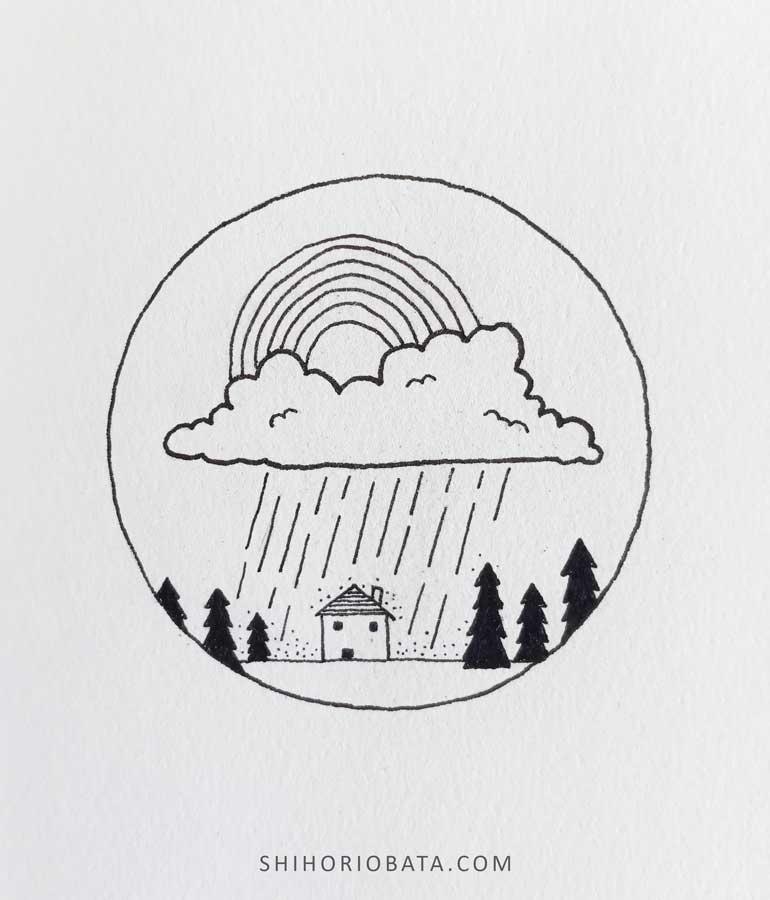 rain rainbow circle drawing