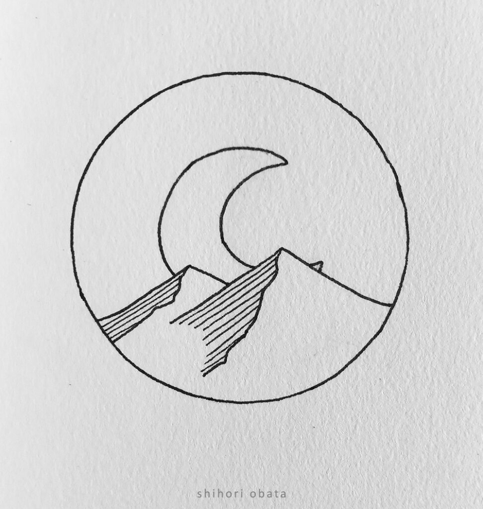 rising moon circle drawing