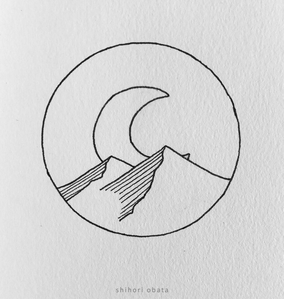 rising moon circle drawing