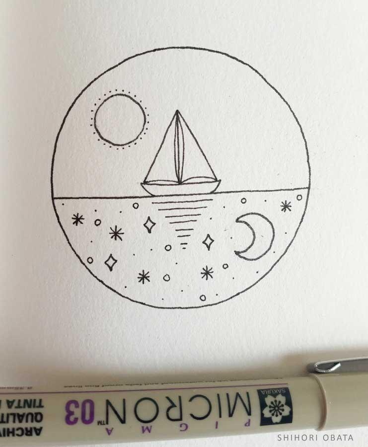 sailboat circle drawing