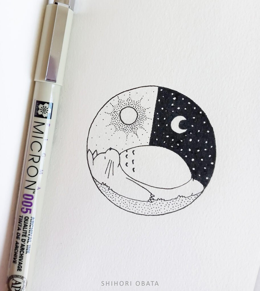 easy sleeping totoro circle drawing idea