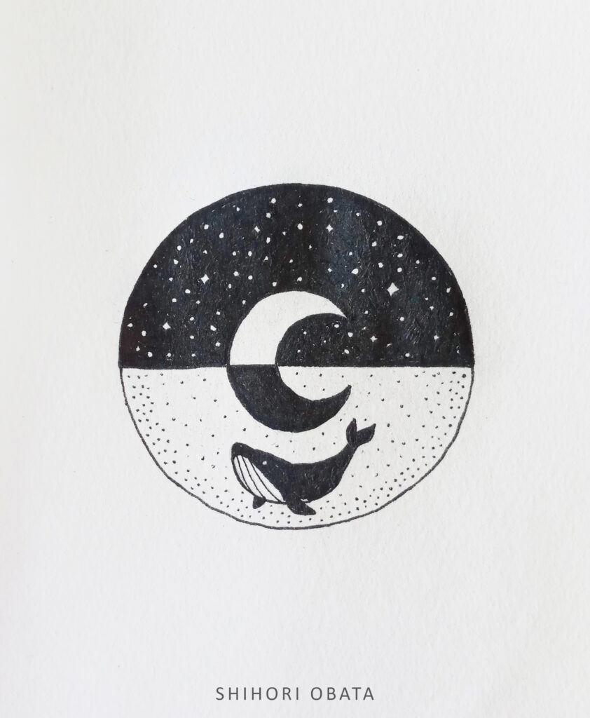 whale circle drawing