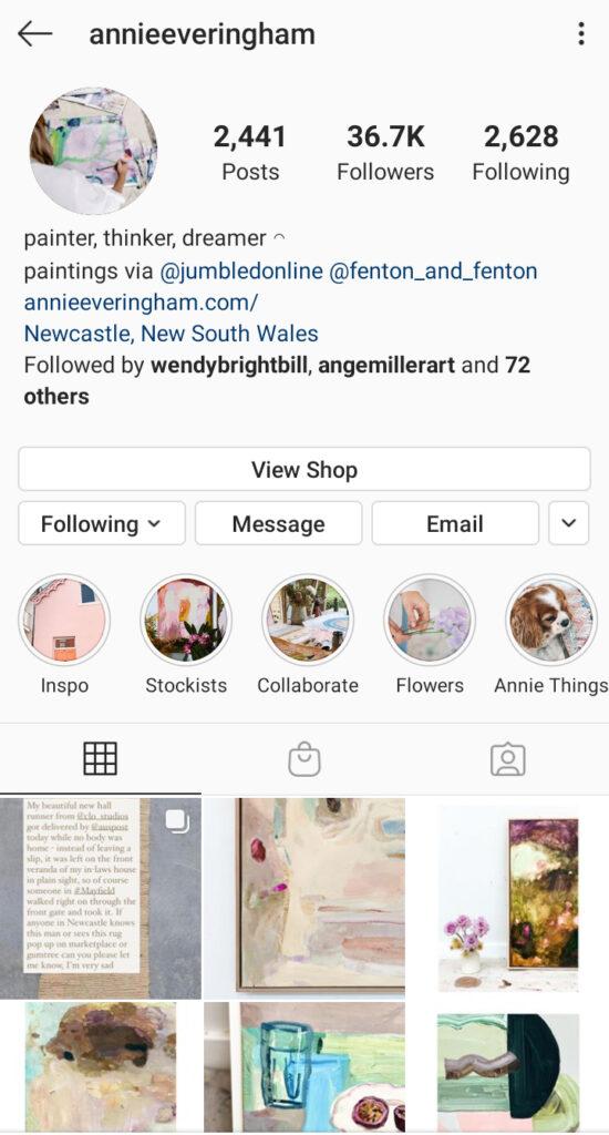 Annie Everingham Artist instagram bio example