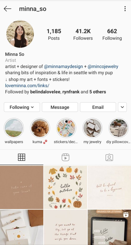 Minna So Artist Instagram bio