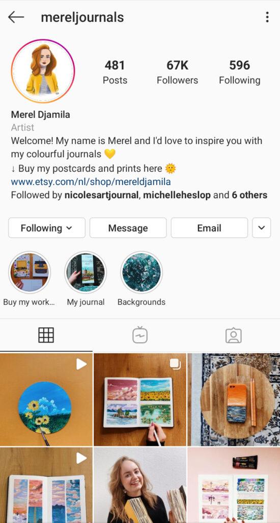 Merel Journals Instagram art bio