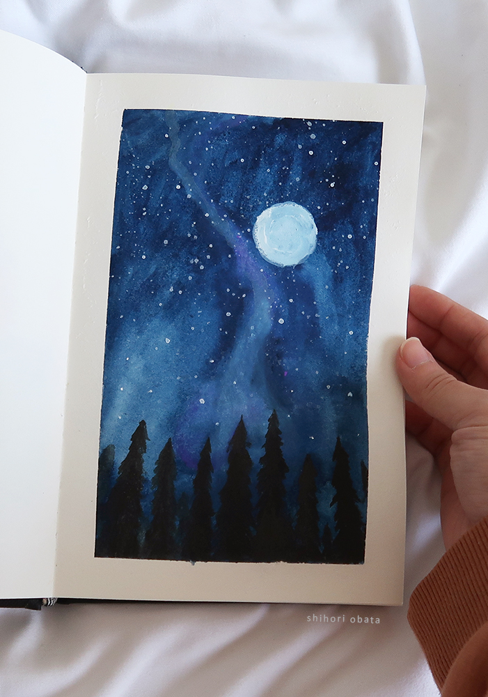 Night Sky gouache painting