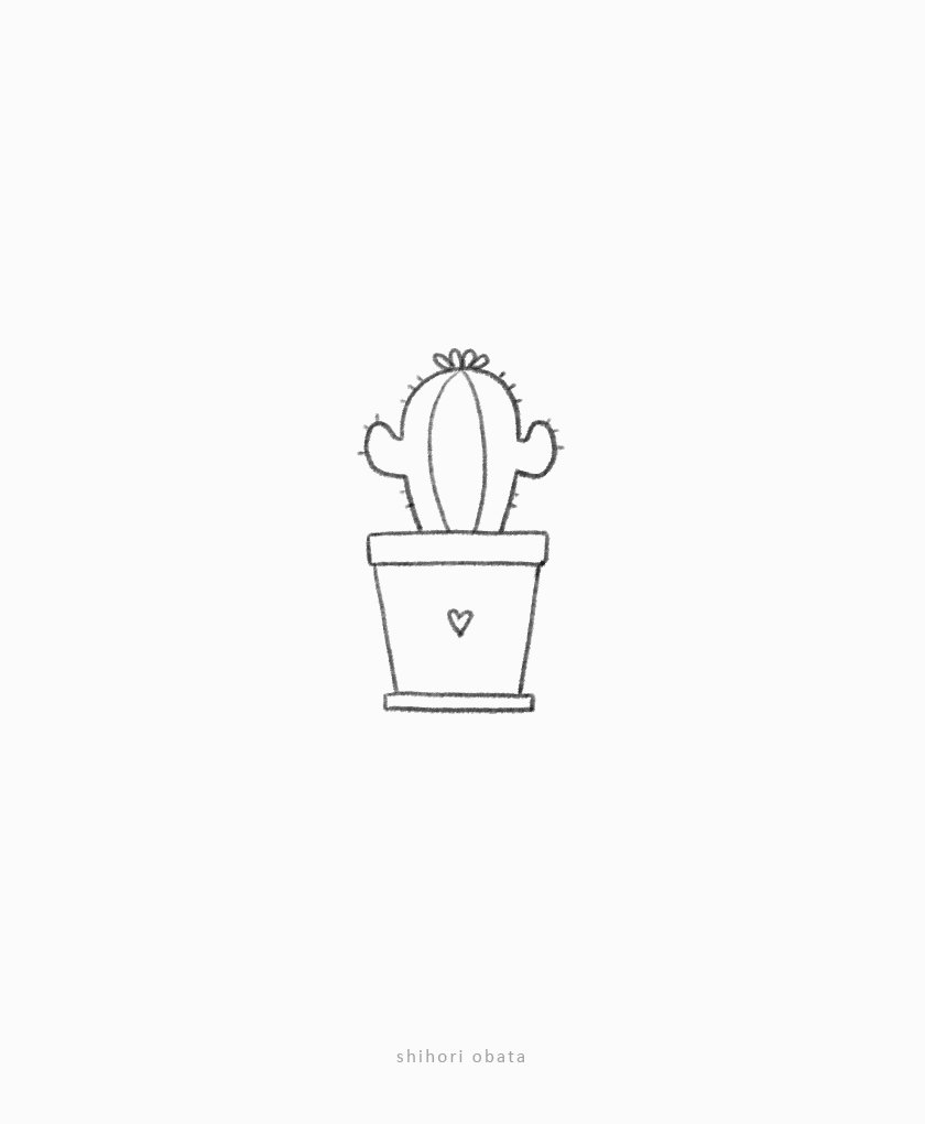 simple cute cactus drawing