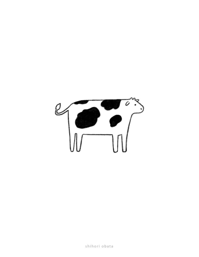 easy simple cow drawing