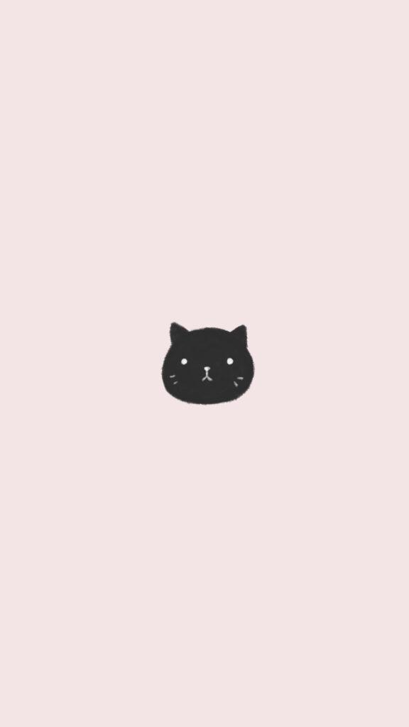 cute black cat phone background