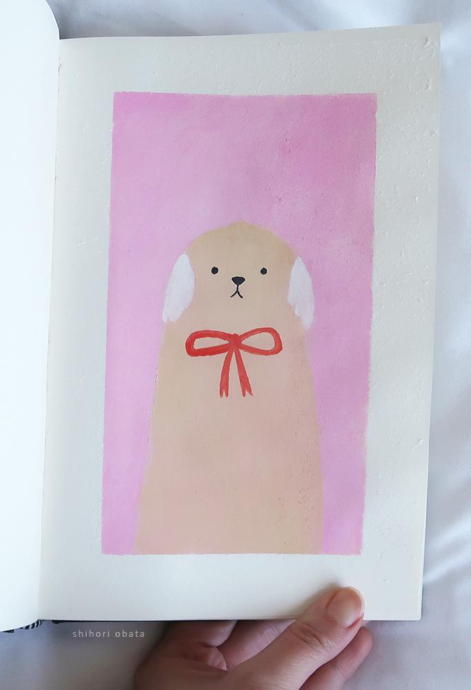 easy dog painting gouache