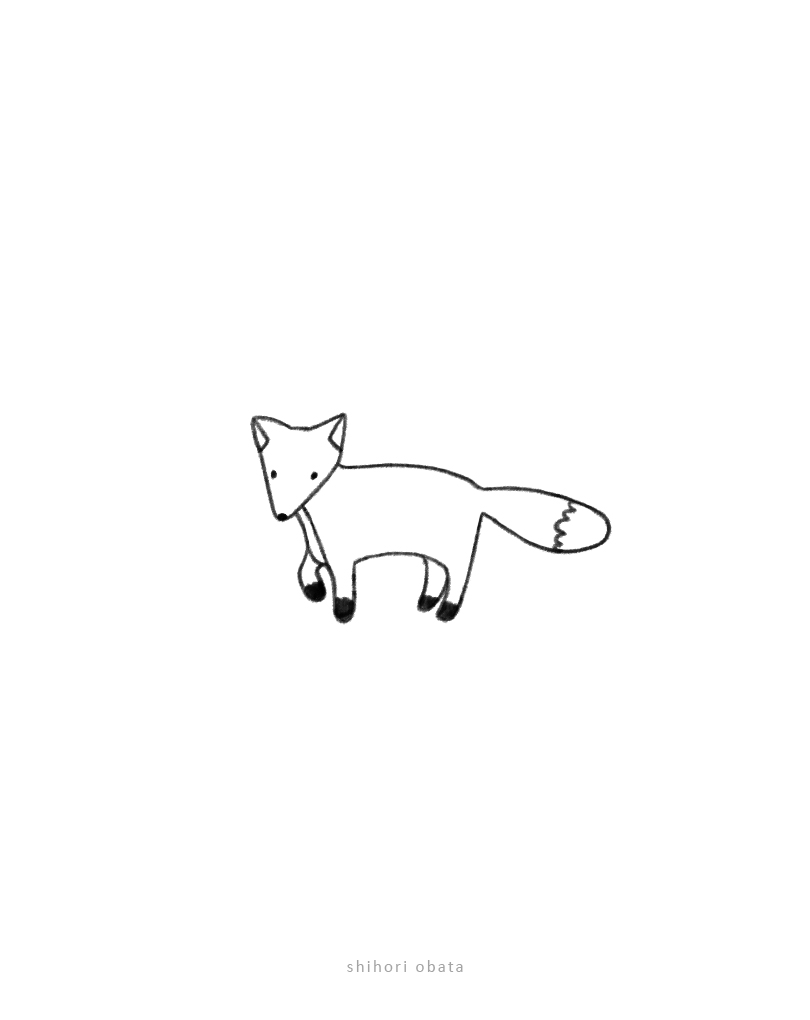 easy simple fox drawing